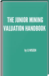 Green book with the title The Junior Mining Valuation Handbook