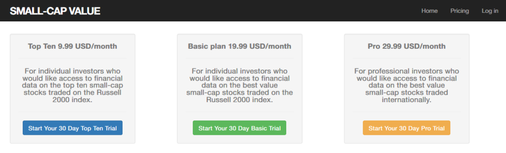 Screenshot of the pricing of Small-Cap Value