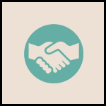 Icon showing people shaking hands