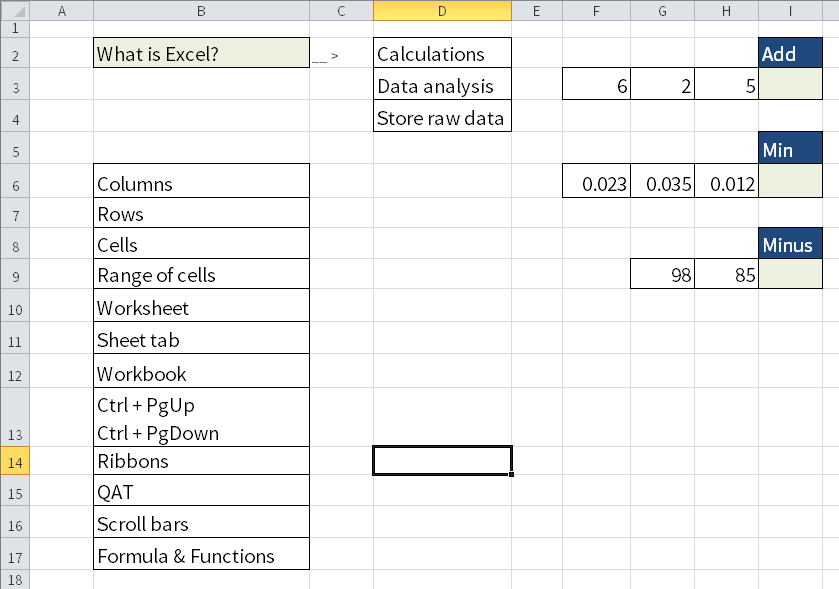 Screenshot of Microsoft Excel explaining what Excel does