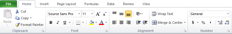 Screenshot of Excel ribbons in open state.