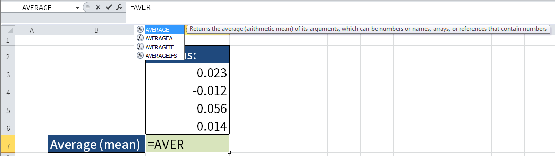 Screenshot of Excel where I calculate the average of four numbers.