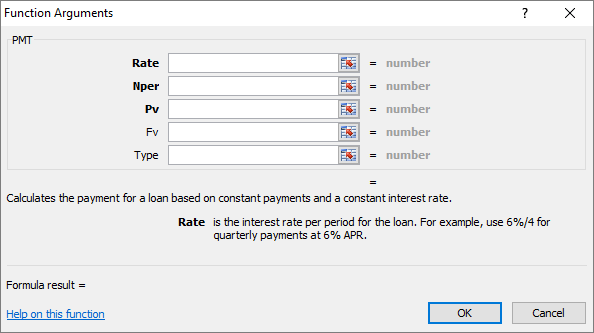 Screenshot of the Function Argument dialog box.