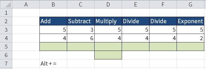Screenshot of Excel to show how you add, subtract, multiply, divide and put your numbers as an exponent.