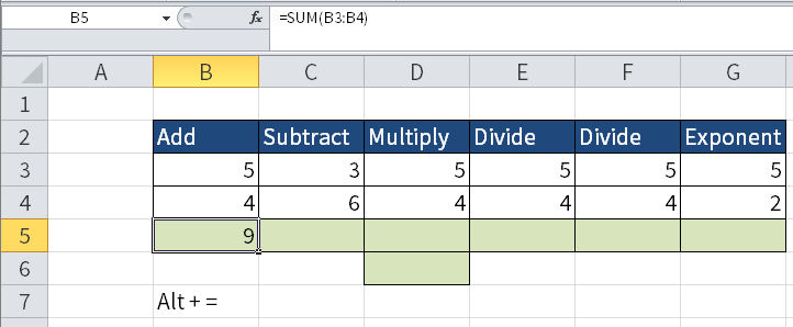Screenshot of Excel where I have typed Alt + = and gotten the result =SUM(B3:B4).