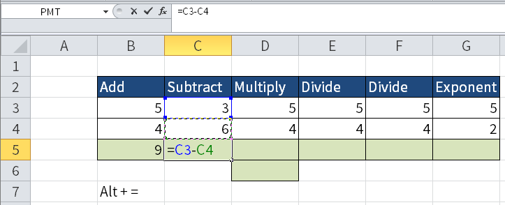 Screenshot of Excel where I subtract one number (C4) from another (C3). The result is shown in cell C5.