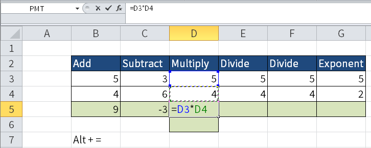 Screenshot of Excel to show multiplication of numbers.