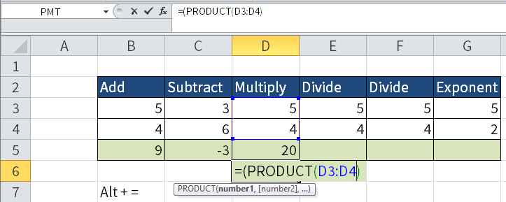 Excel screenshot of another way of multiplying numbers by using the PRODUCT function.