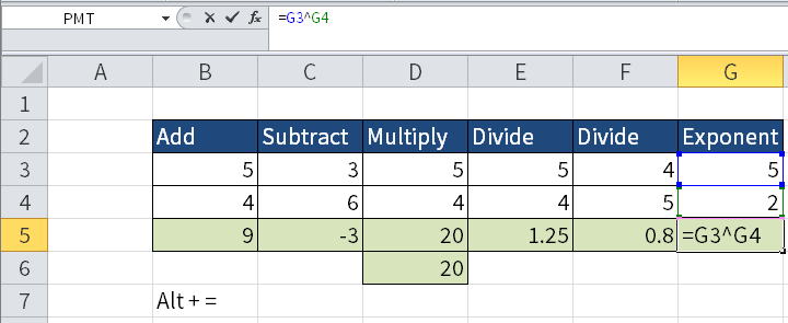 Screenshot showing how to do cell G3 squared. It is done with the caret symbol.