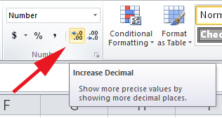 Screenshot of Microsoft Excel showing how you can increase or decrease decimals by clicking the buttons.