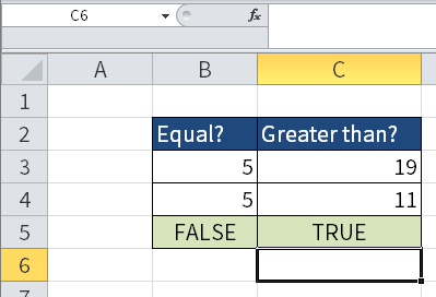 Screenshot to show the Boolean value TRUE in cell C5.