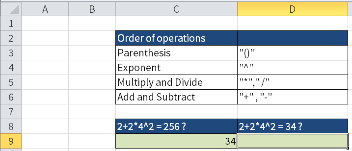 Screenshot of Excel showing the result of the formula in cell C8. The result is shown in C9.