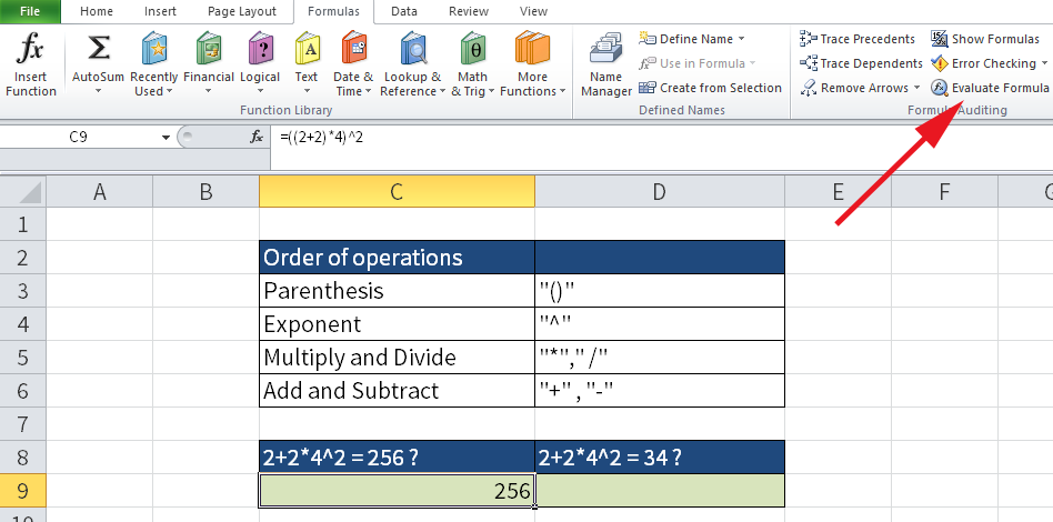 "Screenshot of Excel showing the localization of ""Evaluate Formula""."