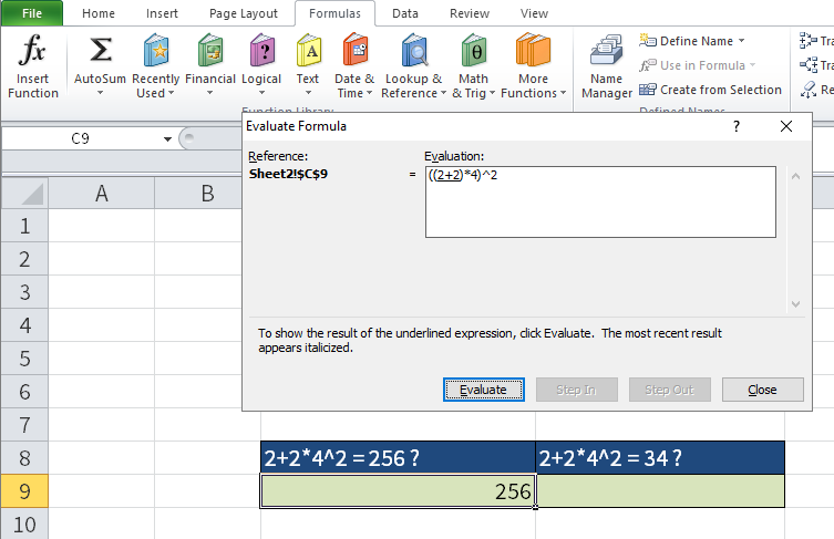 "Screenshot of Excel showing the ""Evaluate formula"" dialog box."