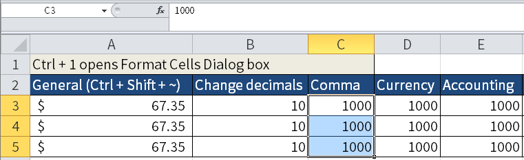 Screenshot of Microsoft Excel where I highlight C3 to C5 in order to change the appearance.