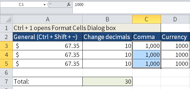 Screenshot of Excel where I've chosen to display my numbers without any decimals but with a 1000 separator.