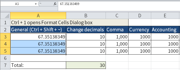 Screenshot of Excel to show how to get rid of number formatting by typing Ctrl + Shift + ~.
