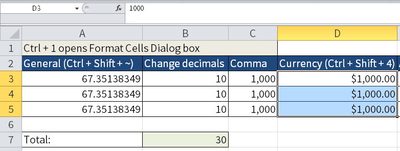 Screenshot of Excel to show how to format currency with Ctrl + Shift + 4.
