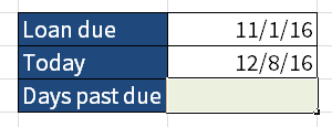 Screenshot of Excel showing two dates where I want to know how many days are between them.