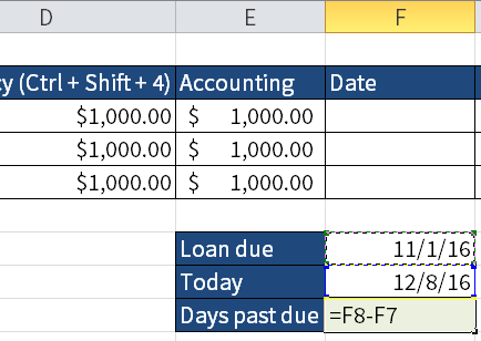 Screenshot of Excel showing how to calculate the difference between two dates.