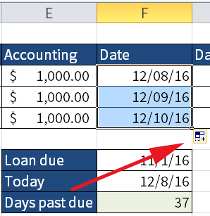 Screenshot of Excel where I increment dates by dragging down the fill handle. The red arrow points to Fill options.