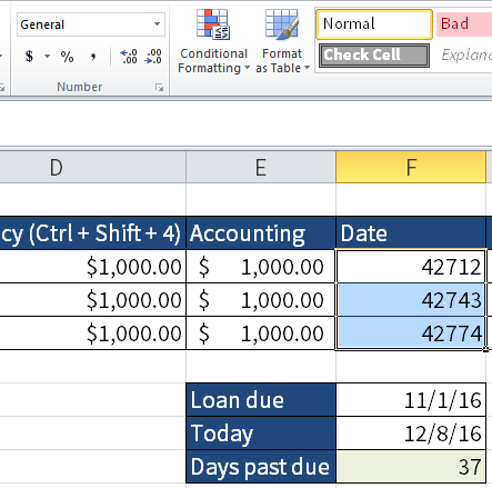 Screenshot of Excel to look at which numbers Excel use behind the scenes. The result is shown in cells F3 to F5.