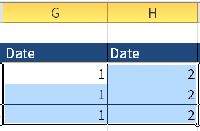 Screenshot of Excel where I want to check what dates 1 (G3) and 2 (H3) are.