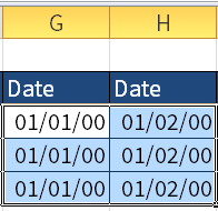 Screenshot of Excel where I show the dates given by the numbers in F3 to G5.