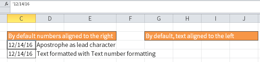 Screenshot of Excel showing a left aligned date by using an apostrophe as lead character in cell C3.
