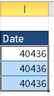 Screenshot of Excel showing numbers in cells I3 to I5.