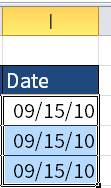 Screenshot of Microsoft Excel showing dates in cells I3 to I5.