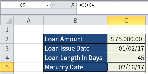Screenshot of Microsoft Excel showing how to calculate a maturity date of a loan issued on a specific date.