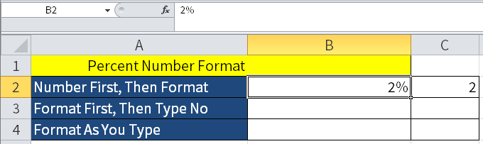 Screenshot of Microsoft Excel showing how the Percent Button works.