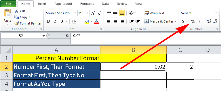Screenshot of Microsoft Excel showing the Percent Button.