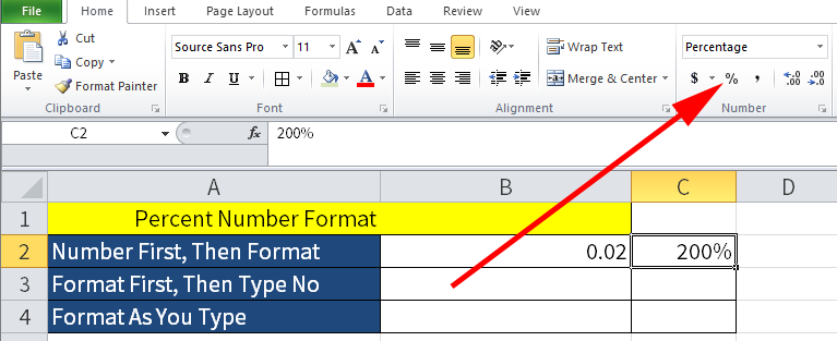 Screenshot of Microsoft Excel showing the percentage of the number 2 in cell C2.