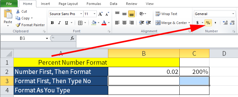Screenshot of Excel showing how to first highlight cells B3 and C3 and click the Percent Button.