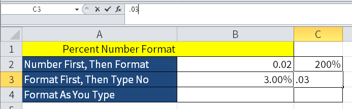 Screenshot of Excel showing what happens i preformatted cells.