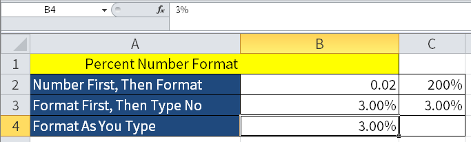 Screenshot of Excel showing an example of Format As You Type.