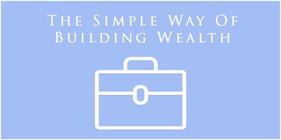 Blue picture with icon of portfolio and text and text about building wealth
