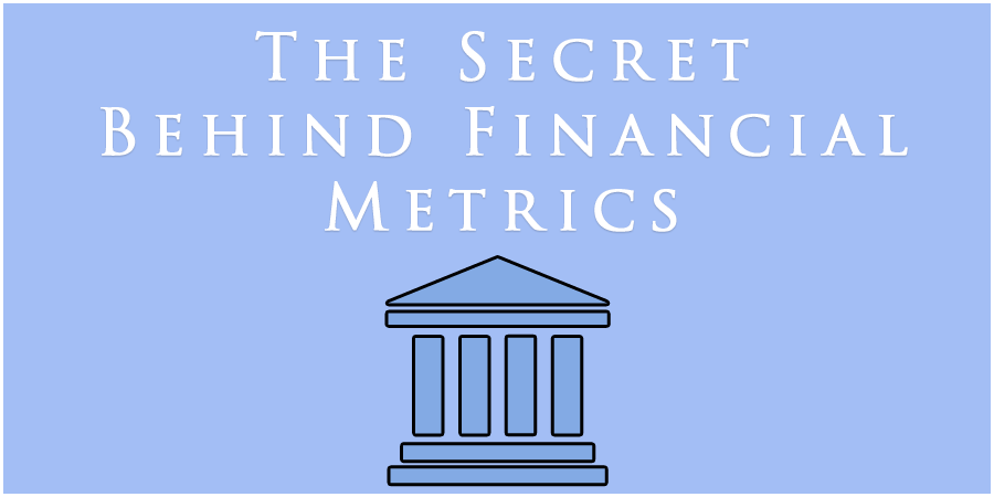 Blue figure of bank with text about financial metrics.