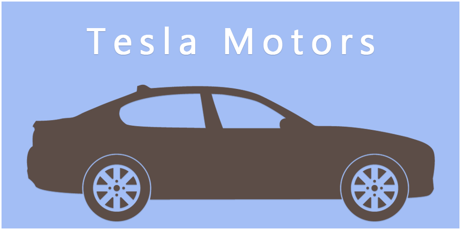 Blue picture with brown car icon with text about Tesla Motors.