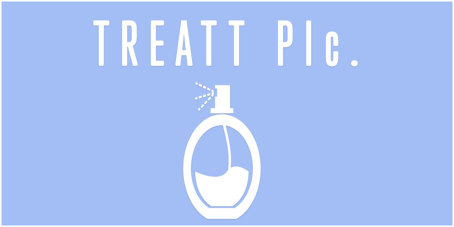 Blue picture of perfume bottle with text about Treatt Plc.