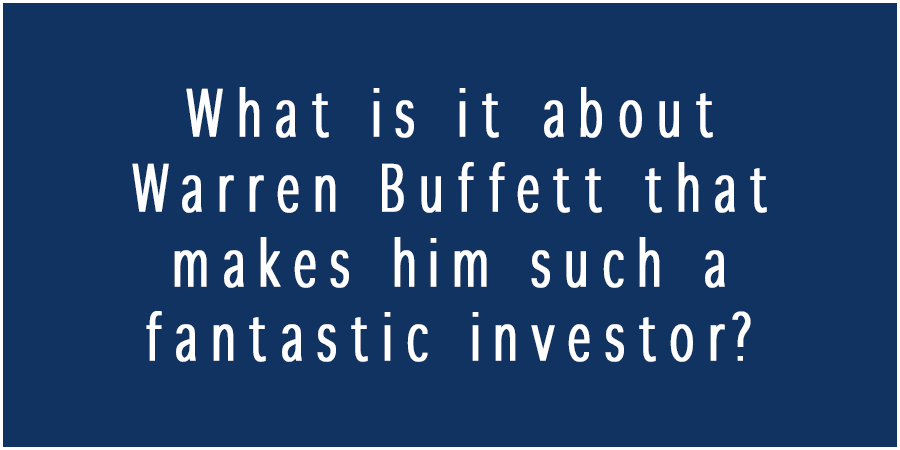 Blue picture with text about the fantastic investor Warren Buffett