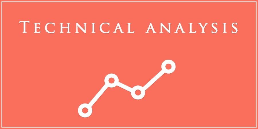 Orange picture of graph with text about technical analysis