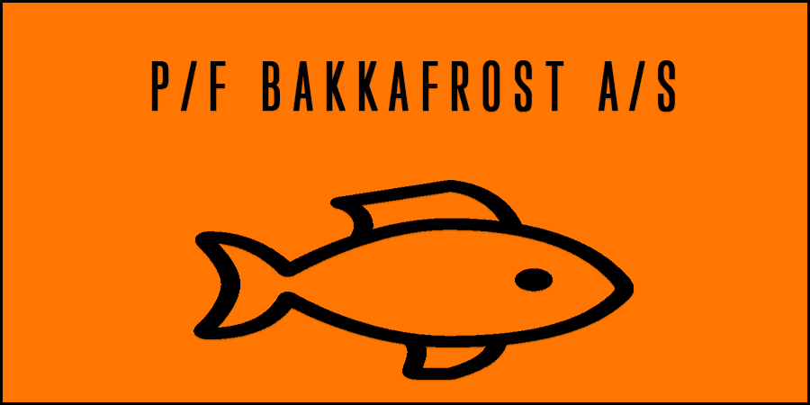 Orange figure of fish with text about Bakkafrost