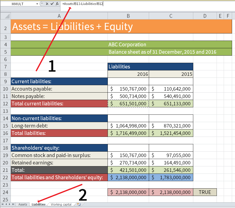 Screenshot of Microsoft Excel showing how to calculate the Net working capital from different working sheets in the same Excel document.