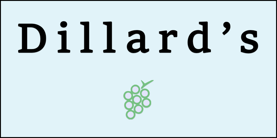 Light blue picture of cluster of grapes with text about Dillard's