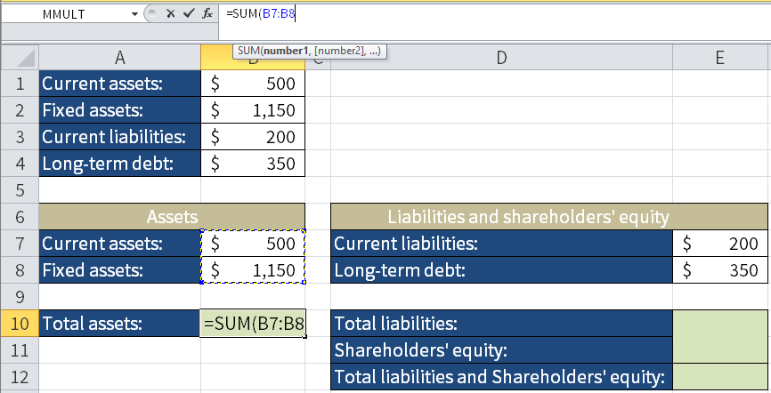 Screenshot of Microsoft Excel showing how to calculate Total assets by adding Current assets and Fixed assets.