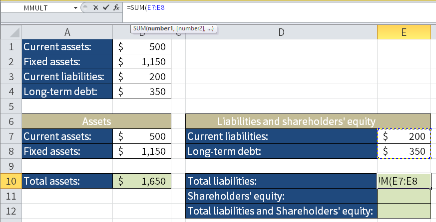 Screenshot of Microsoft Excel showing how to calculate Total liabilities by adding Current liabilities and Long-term debt.