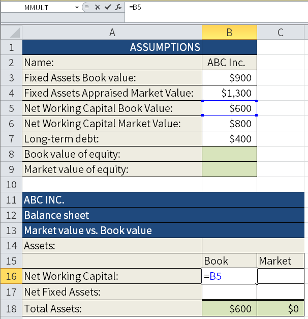 Screenshot of Microsoft Excel where we are calculating the Book value and the Market value of different assets. Here we are adding the Book value of the New working capital to cell B16.